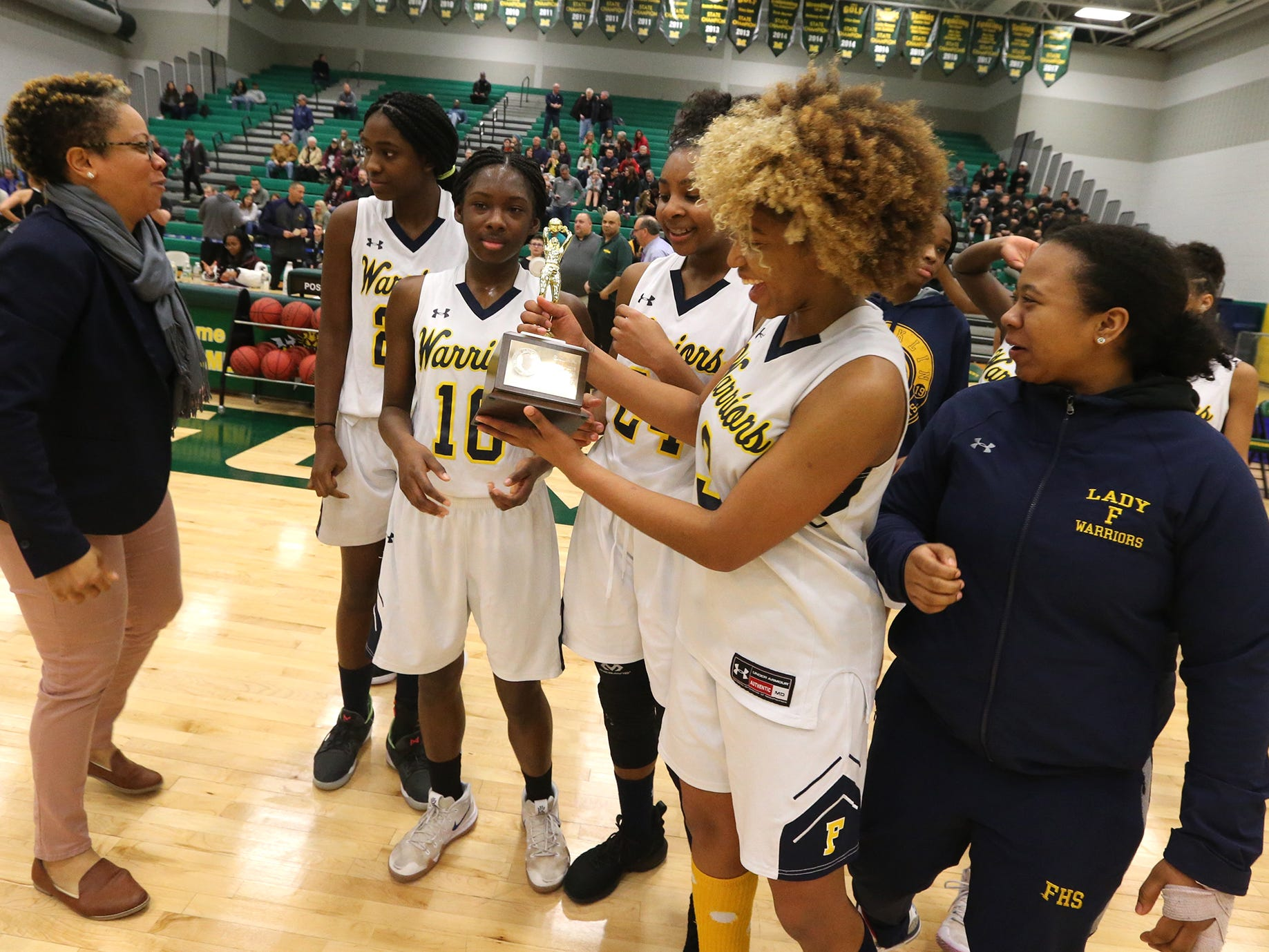 The top-seeded Franklin girls basketball team won its second-straight Somerset County Tournament title 63-49 over No. 2 Rutgers Prep on Saturday, Feb. 23, 2019.