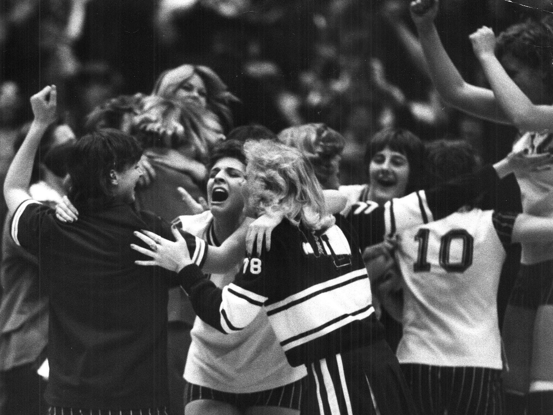 1978: West Lyon players are jubilant after a win over Belmond. Register file photo