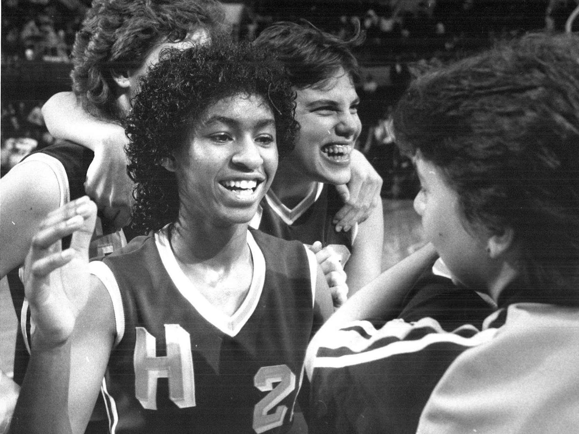 1984: Senta Hawkins, left, and Jodi Carlson celebrate HooverÕs victory at the state girls' basketball tournament. Register file photo