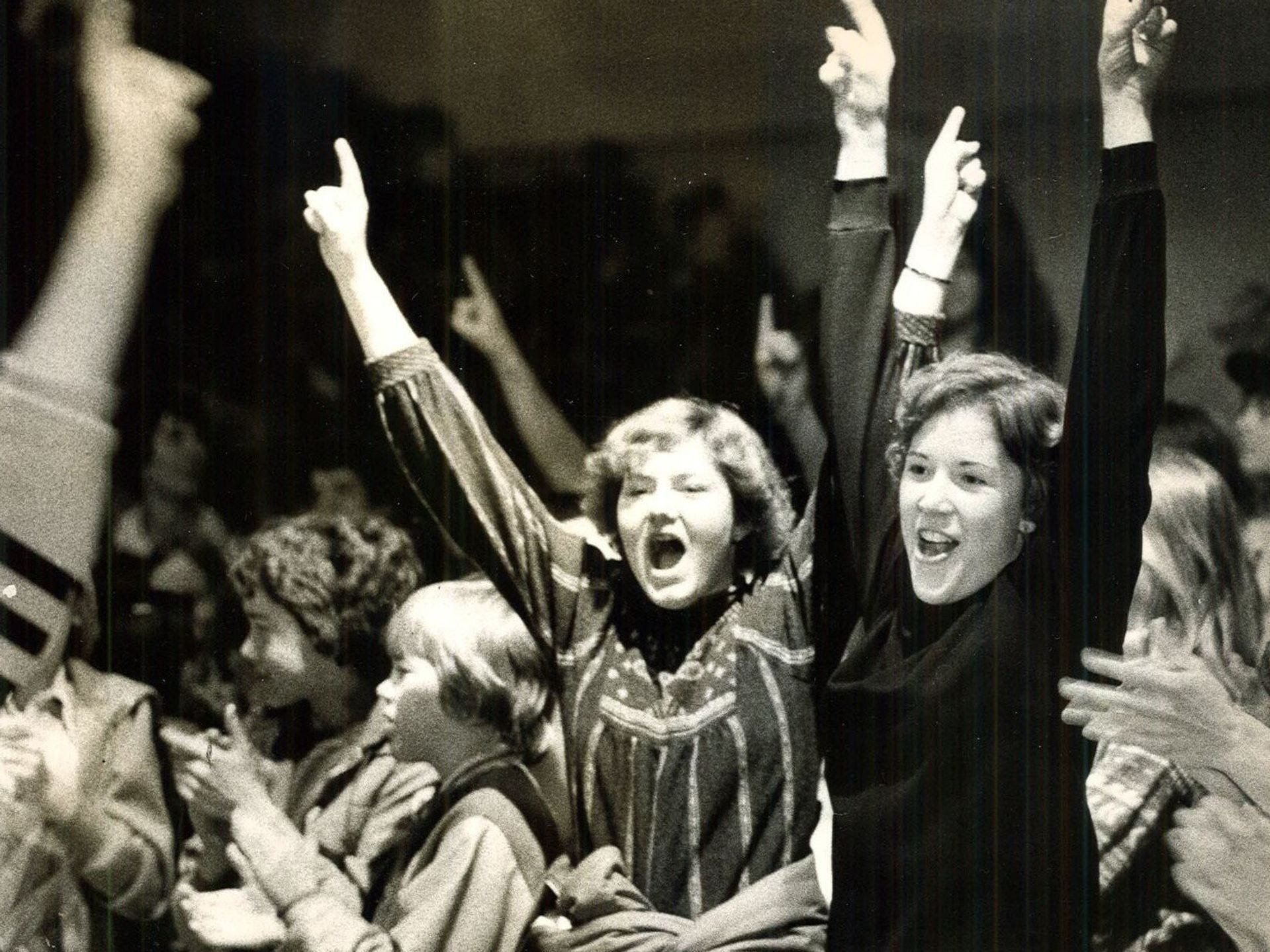 1977: Some 2,500 fans help Southeast Polk celebrate their girls' state basketball championship. Register file photo