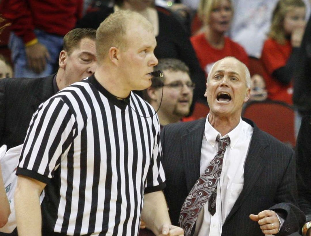2011: Ankeny coach Scott DeJong screams at officials near the end of their 4-A opener against Linn-Mar. Register file photo