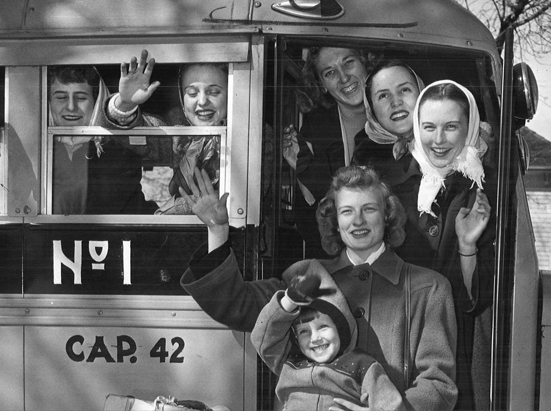 "1949: The Wellsburg basketball team heads off to the state girls' tournament in Des Moines. Led by all-state first team selection Thelma Ross, in front holding 5-year-old team ""mascot"" Sandy Ackerman, Wellsburg beat Oakland 56-40 in the state championship game. The Register reported most of the town's population of 700 made the 80-mile drive to Des Moines, leaving Wellsburg a ghost town during tournament games. And those who didn't travel gathered in large groups to catch the games on radio. Register file photo"