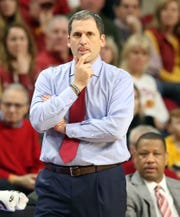 Iowa State Cyclones head coach Steve Prohm watches his team play the Oklahoma Sooners at Hilton Coliseum.