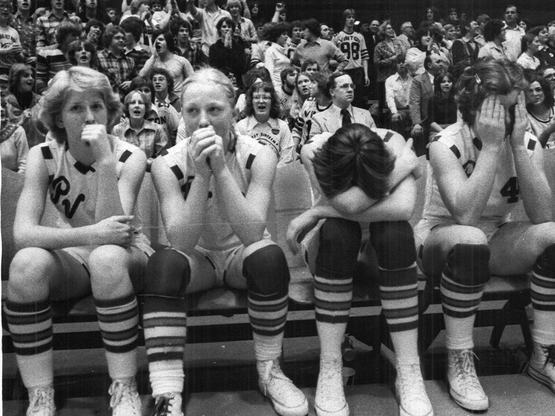 1978: As the clock ticks off the final seconds, Pleasant Valley players resort to tears. Register file photo
