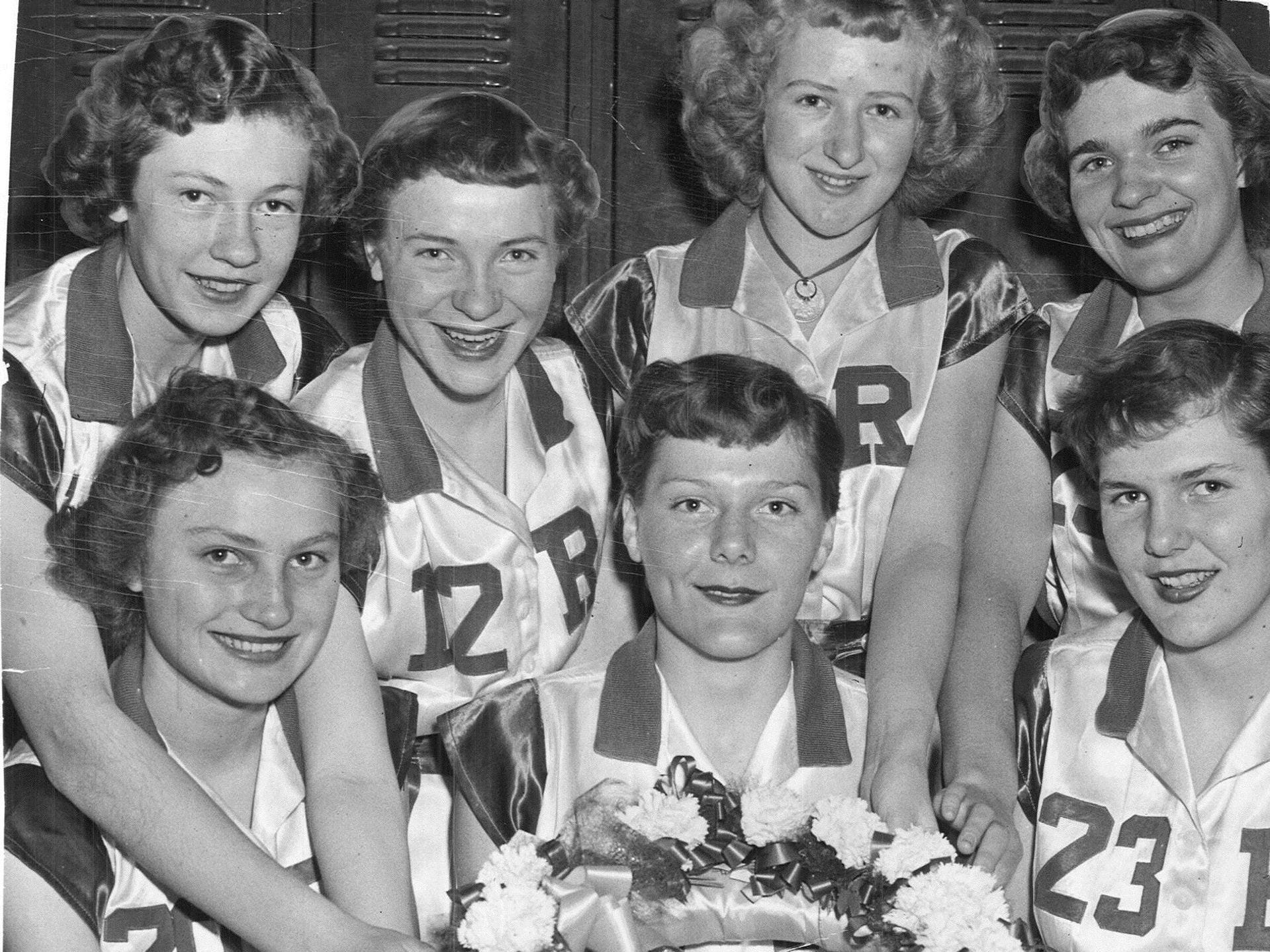 1952: Reinbeck made its first appearance in the state girlsÕ basketball tournament. From left to right, front row: Jean Shoup, Frances Billerbeck, Franceine Billerbeck; back row: LeAnn Roberts, Shirley Borfels, Rozella Blakely and Marian Philp. Register file photo