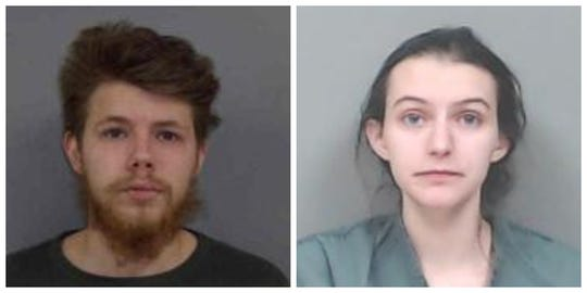 Zak Herman, left, and Stazia Kirk shown in their mugshots. The couple has been arrested for allegedly malnourishing their infant daughter.