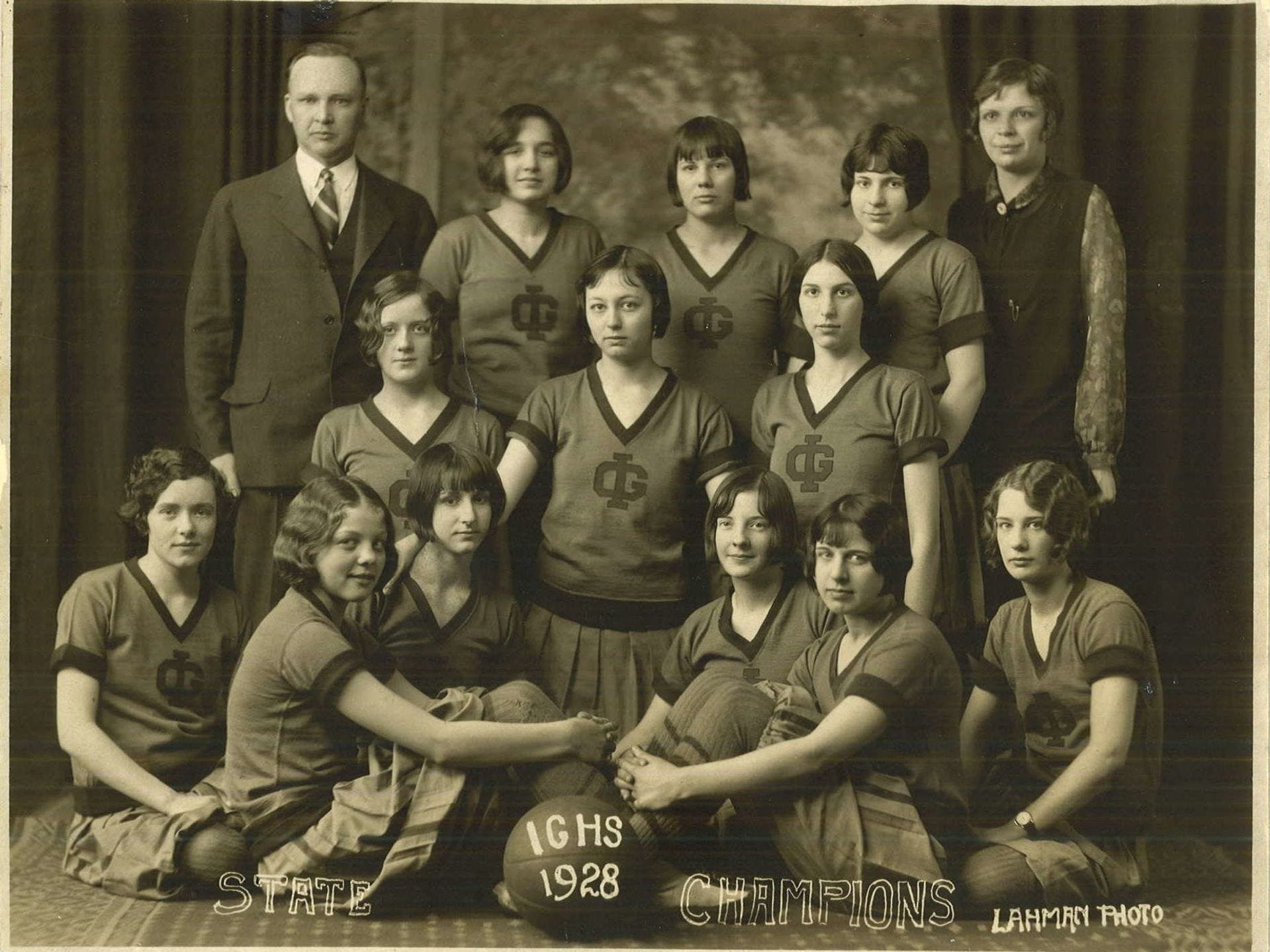 1928: The Ida Grove basketball team won the state girls' basketball tournament in 1928. From left to right, front row: Mae Aukerman, Sylvia Rohwer, Carolyn Miller, Virginia Aiken, Dorothy Anderson and Mary Koons; second row: May Iverson, Pauline Lahr, Sarah Alien White; back row: C.W. Sankey, coach; Marjory Anderson, Olive Little, Mary Page and Esther Saupe, chaperone. Special to the Register