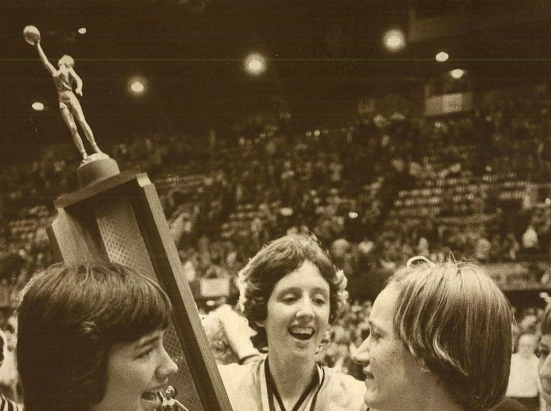 1977: The Southeast Polk women celebrate their win in the state finals. Register file photo