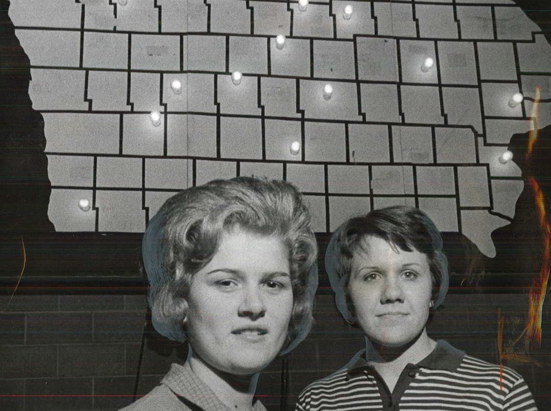1963: Two of the best female players in Iowa, EverlyÕs high scoring Peg Petersen (left) and star guard Joan Wimmer pose under the traditional Sweet Sixteen map at Veterans Auditorium. Register file photo
