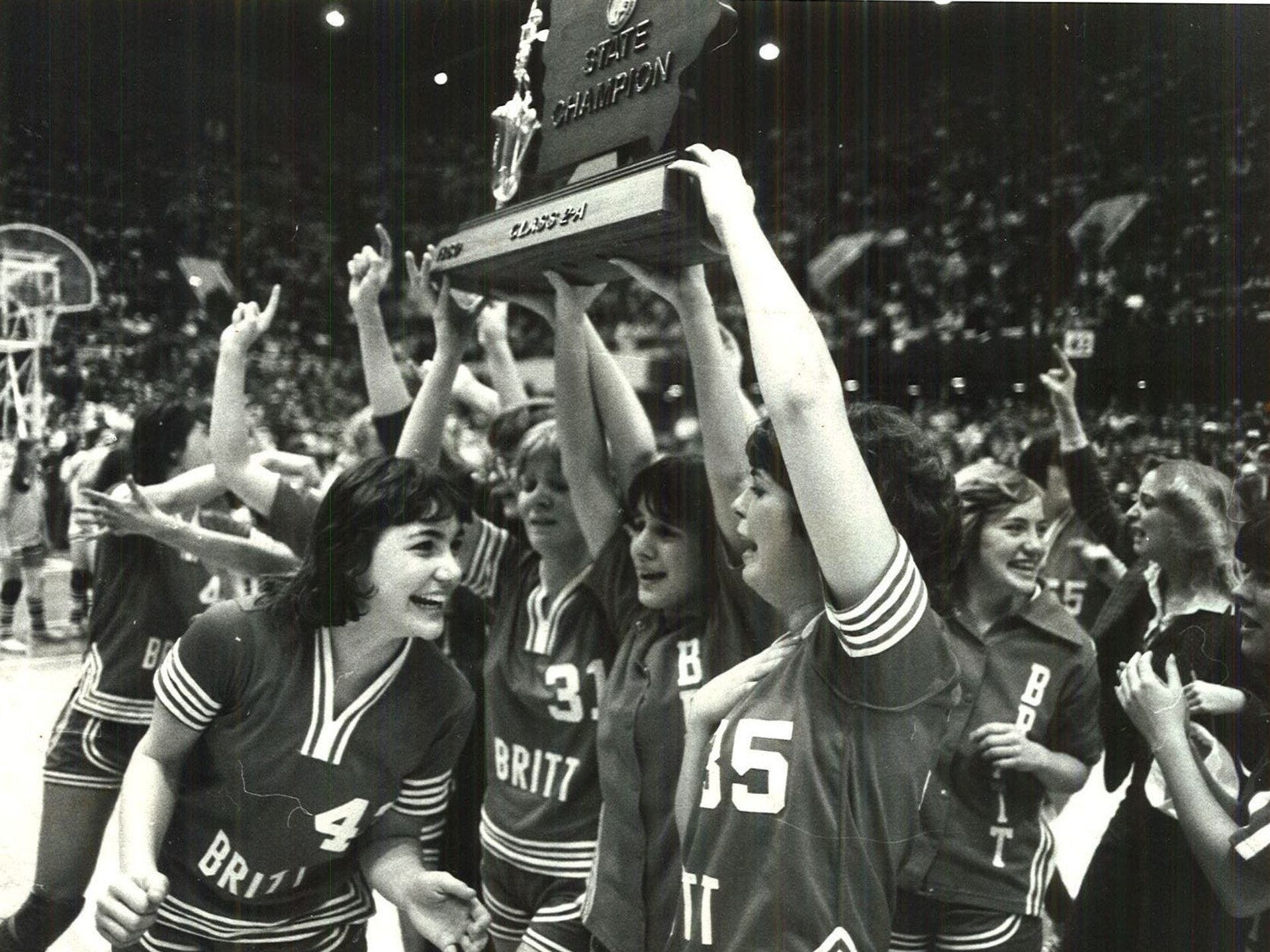 1980: Britt's Class 2-A champion E'Gals earn their first state title, 62-61. Register file photo