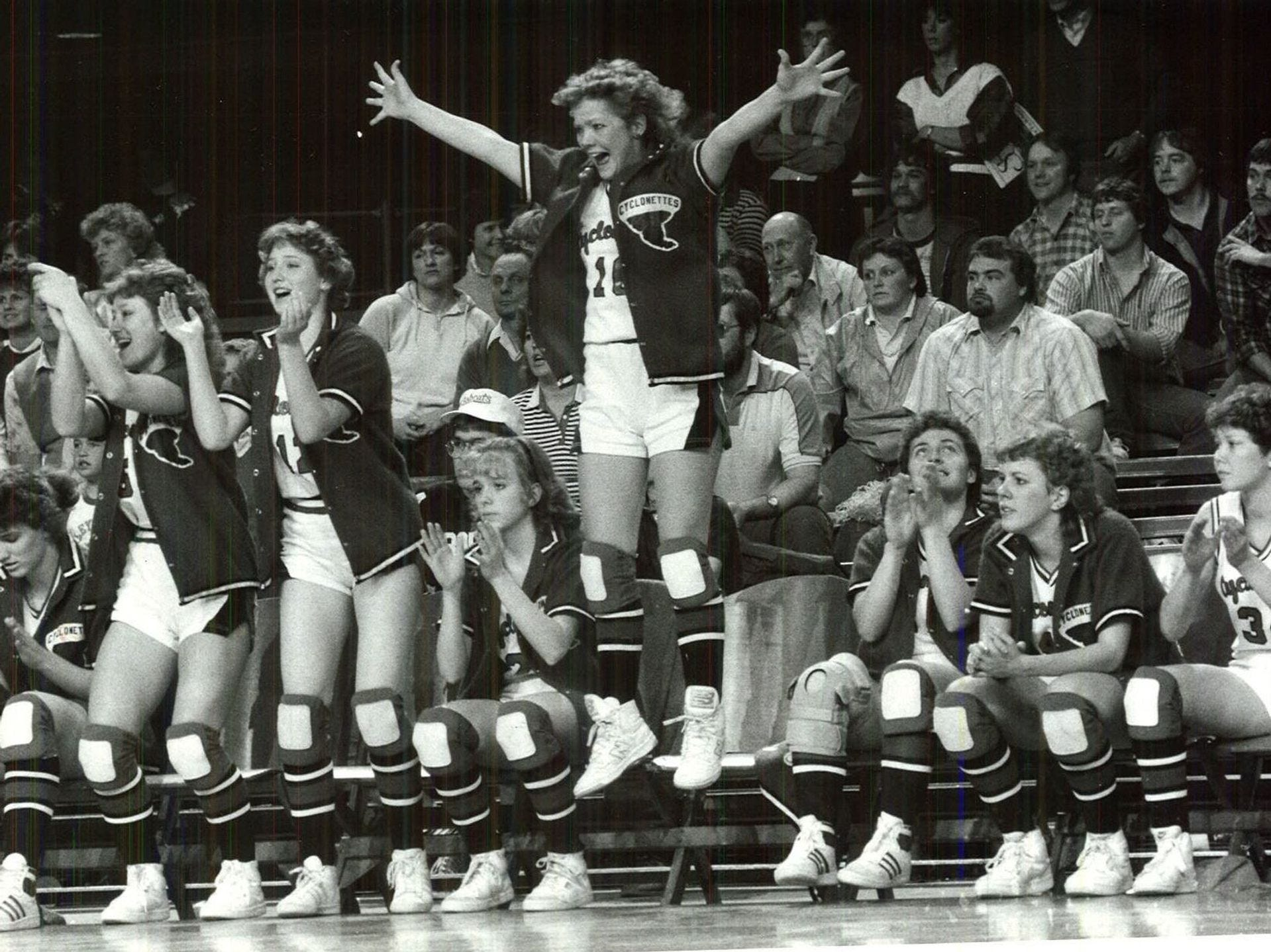 1985: HarlanÕs Teresa Wegner reacts to her teamÕs comeback in the final quarter of the game against Ackley-Geneva. Register file photo