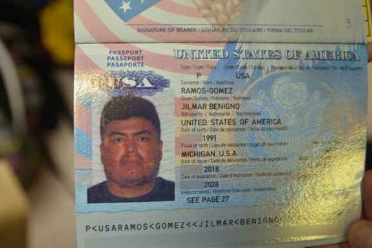 Passport of Jilmar Ramos-Gomez (with some information redacted by ACLU Michigan). Ramos-Gomez of Michigan is a U.S.-born citizen, but was detained by ICE for a few days in November 2018, drawing criticism from the ACLU and Michigan Immigrant Rights Center.