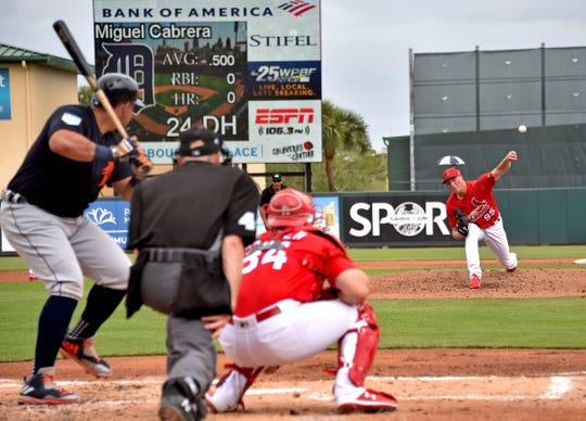 Detroit Tigers' Miguel Cabrera bats against St. Louis Cardinals pitcher Evan Kruczynski in a spring training game Feb. 25, 2019 in Jupiter, Fla.