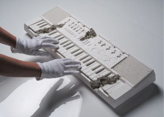 A keyboard that's part of Daniel Arsham's exhibit, is a replica of hip-hop star Pharell's first Casio Keyboard from the 1980s.