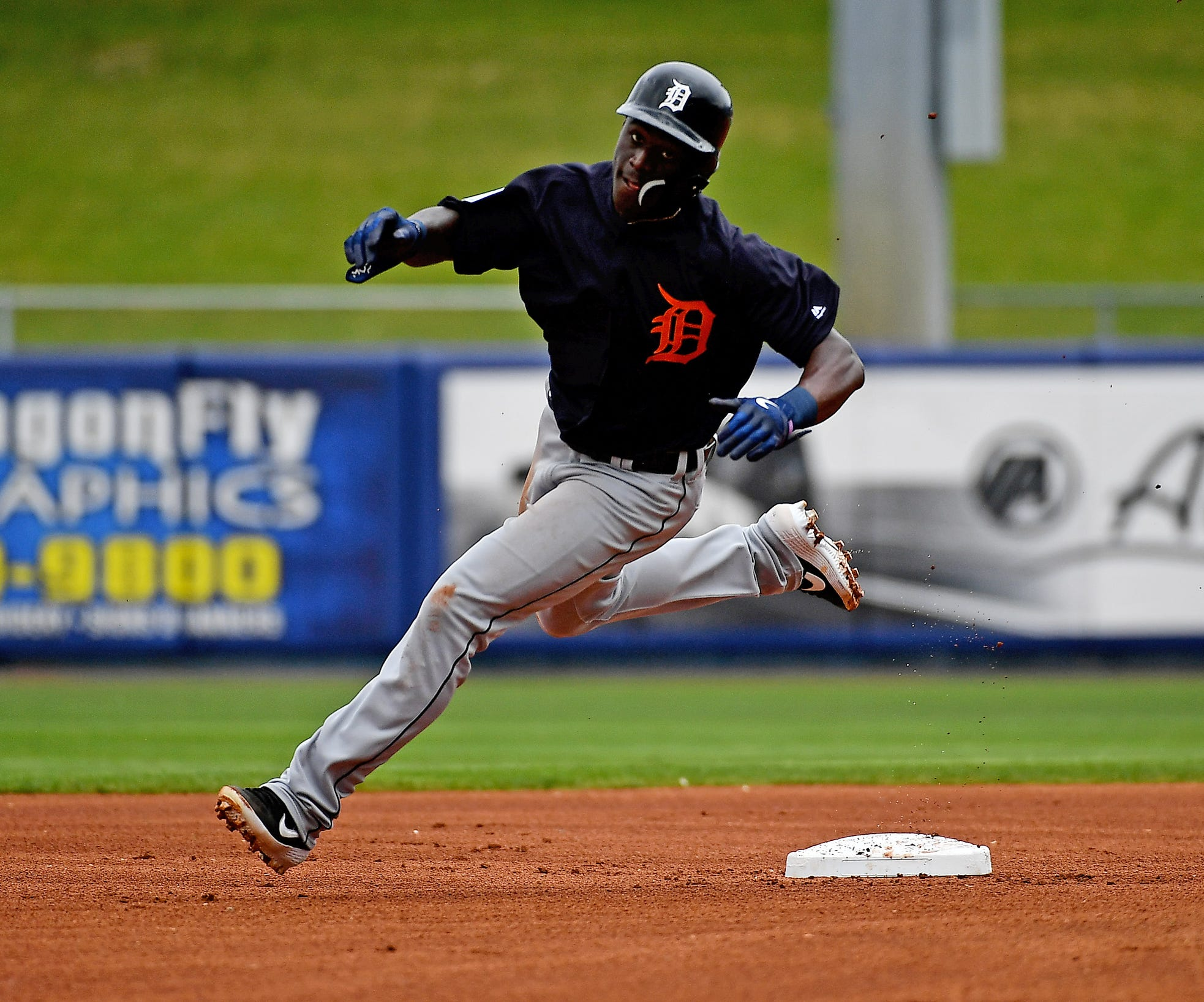 Tigers center fielder Daz Cameron rounds second base in the first inning of the spring training game on Tuesday, Feb. 26, 2019, in Port St. Lucie, Fla.