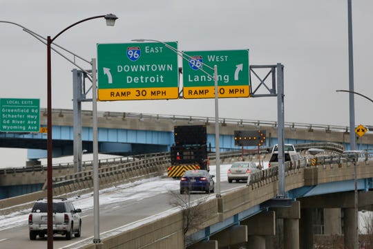 The eastbound ramp for I-96 from M-39 south was closed due to a 5-foot pothole on Tuesday, Feb. 26, 2019.