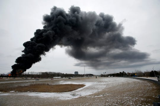 A massive fire broke out at the back side of the US Farathane in Auburn Hills on Tuesday, February 26, 2019.