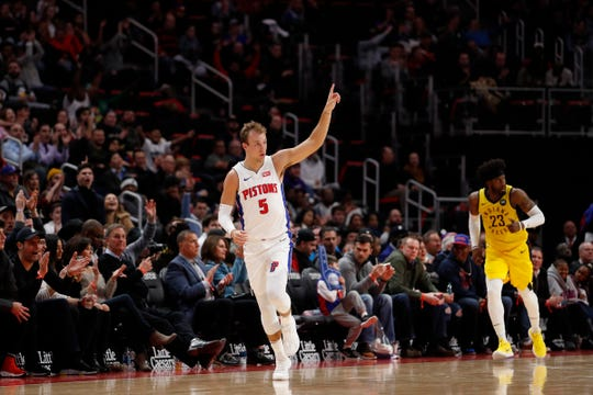 Luke Kennard celebrates a score against the Pacers during the second quarter at Little Caesars Arena on Monday.