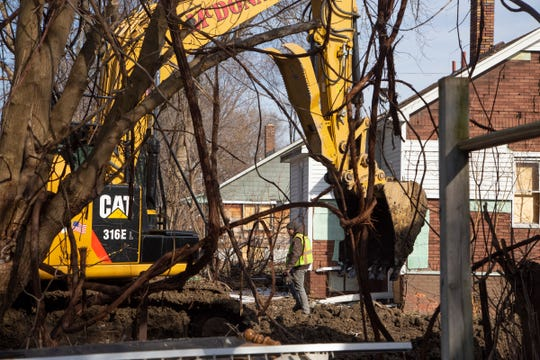 The Chicago-based McDonagh Demolition was ordered to excavate a demolition site in the 13000 block of Maiden St. on Detroit's east side on Friday, Feb. 22, 2019. The order came after it was discovered the company filled several demolition holes across the city before fully removing all of the demolition debris, which is a major violation of the federally-funded program.