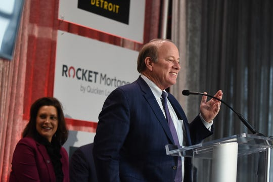 Detroit Mayor Mike Duggan speaks during the Forbes announcement press conference.