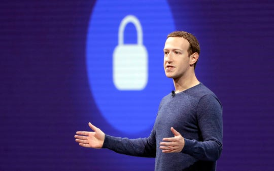 FILE- In this May 1, 2018, file photo, Facebook CEO Mark Zuckerberg delivers the keynote speech at F8, Facebook's developer conference, in San Jose, Calif. In his first State of the State address, Tuesday, Feb. 12, 2019, California Gov. Gavin Newsom said the state's consumers should get a piece of the billions of dollars that technology companies make off the personal data they collect. California-based Facebook and Google aren't commenting on the idea. (AP Photo/Marcio Jose Sanchez, File)