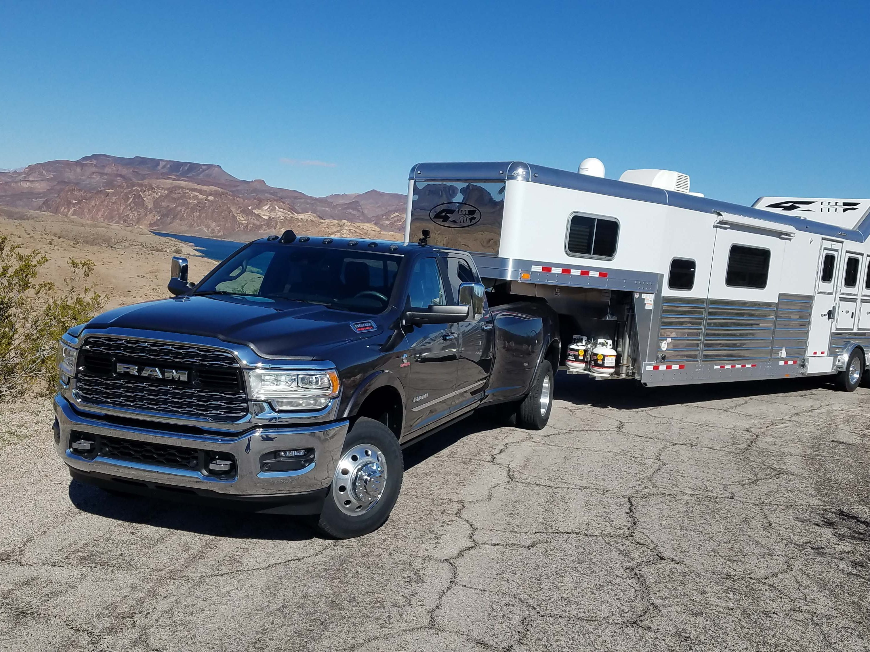 Out for a tow. The Ram 3500 Heavy Duty easily pulls this 19,000-pound horse trailer around the hills of Nevada.