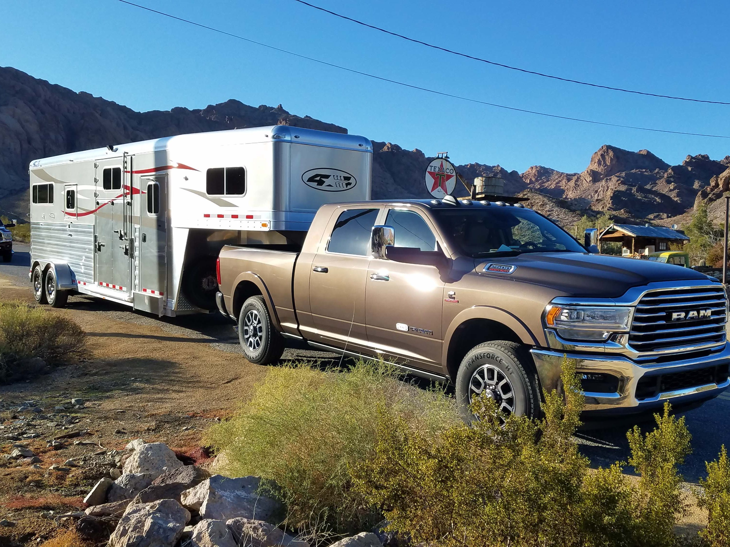 The Ram Heavy Duty comes in 2500 and 3500 sizes with V-8 and diesel options. This 2500 mega-cab diesel boasts 850 pound-feet of torque and easily pulls a 14,000-pound horse trailer.