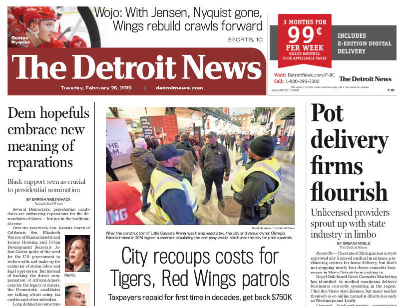 The front page of The Detroit News on Tuesday, February 25, 2019.