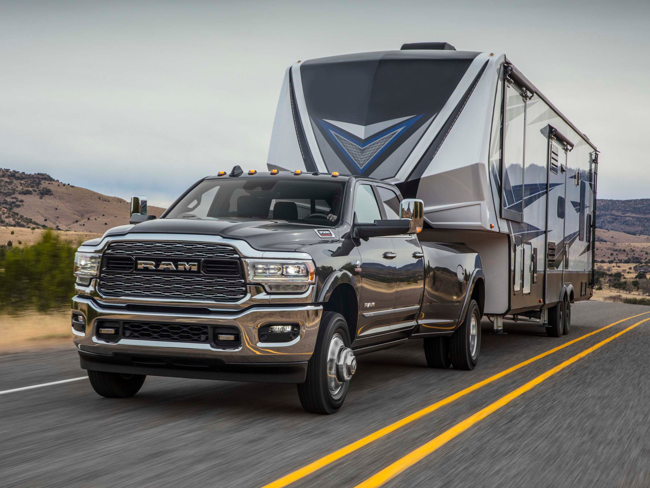 The 2019 Ram 3500 Heavy Duty — here in Limited Crew Cab Dually form — can tow up to 35,100 pounds. A mobile home like this? Piece o' cake.