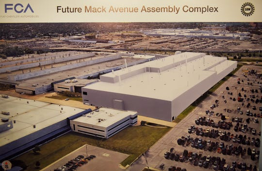 A rendering shows the planned Mack Avenue Assembly Complex. The new plant would build the next-generation Jeep Grand Cherokee.