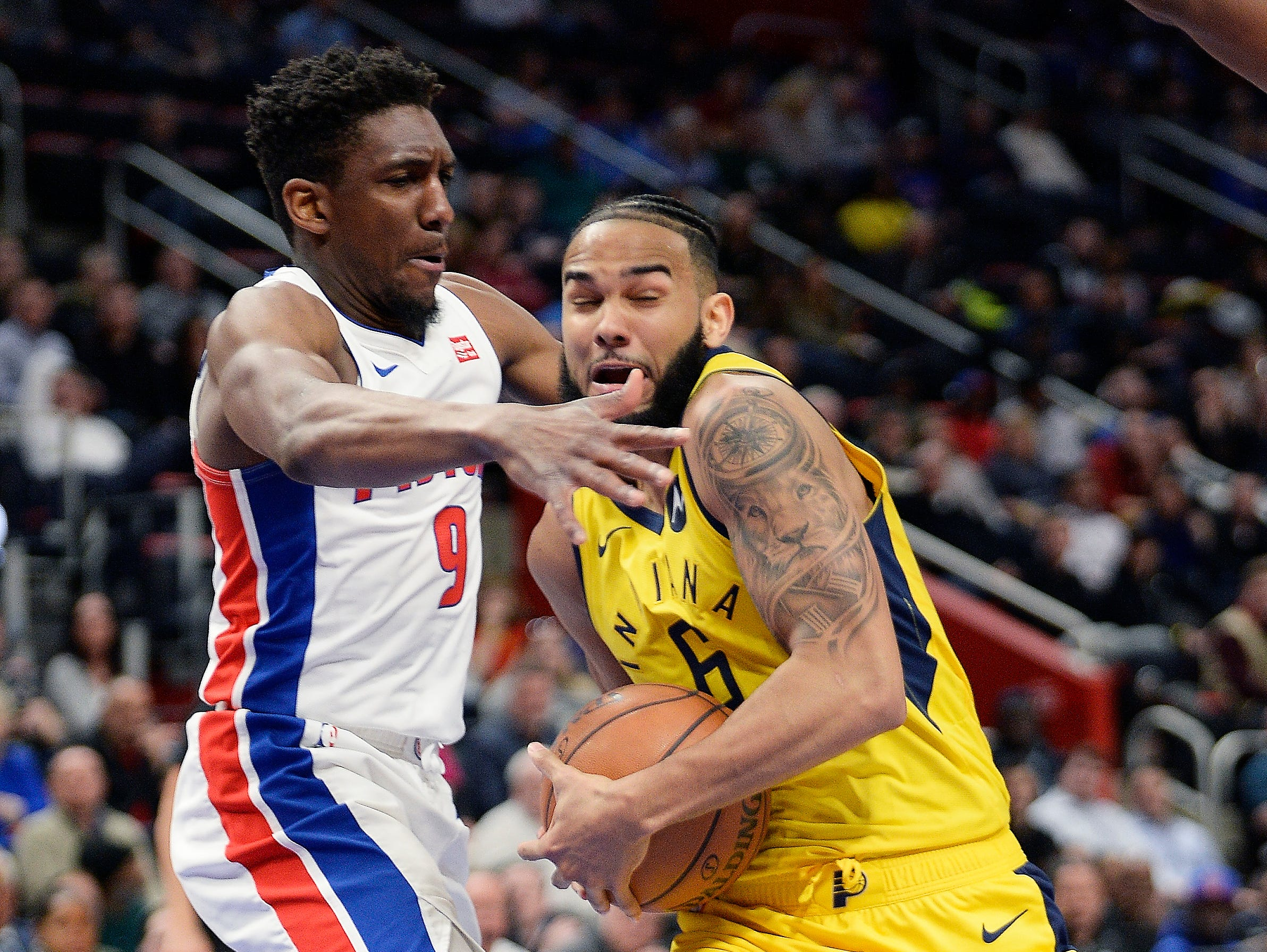 Detroit's Langston Galloway defends the Pacers' Cory Joseph in the fourth quarter.
