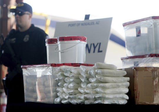 Fentanyl and meth seized by Customs and Border Protection officers is shown at the Nogales Port of Entry at a press conference in Nogales, Arizona.