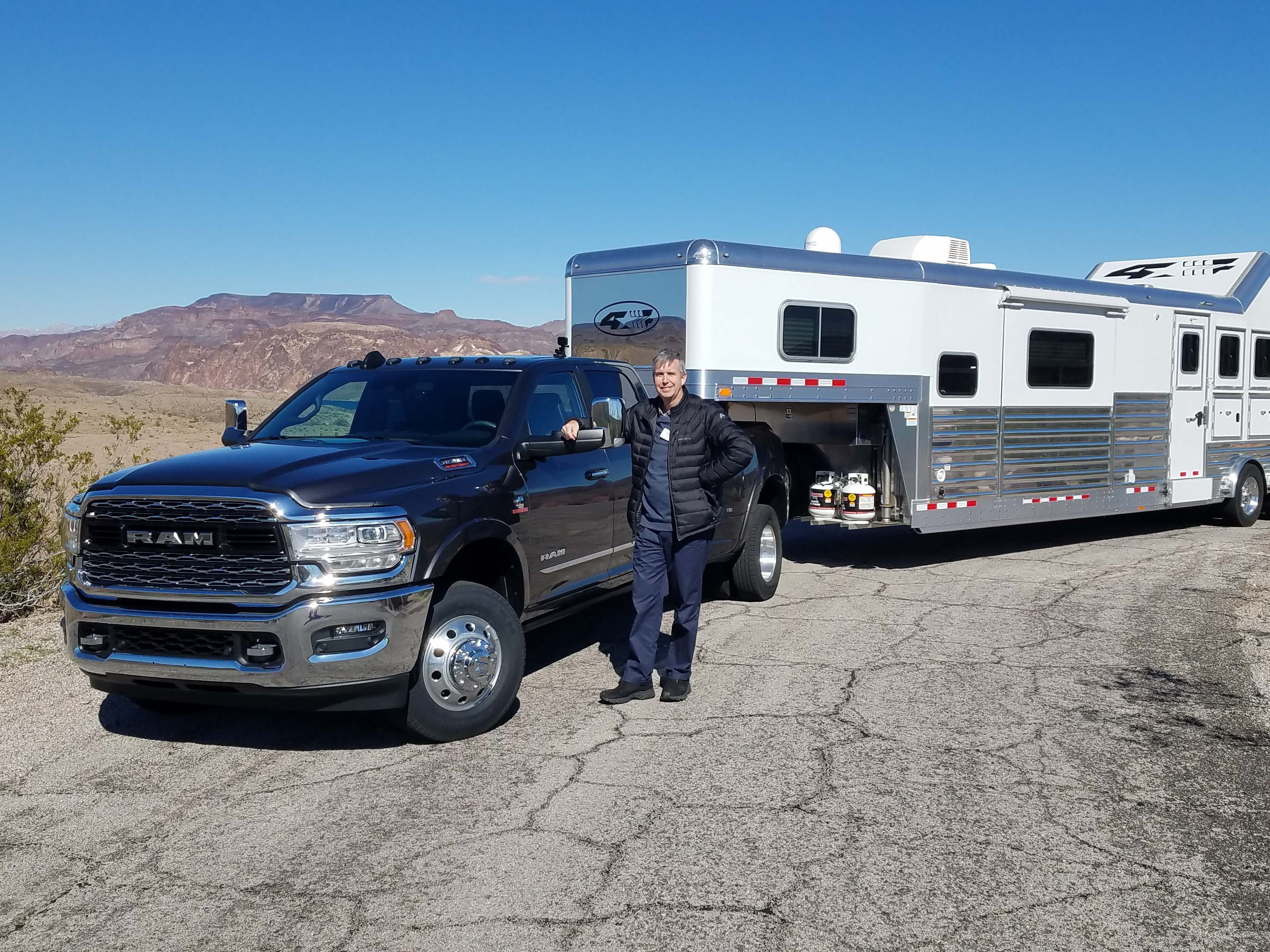 Detroit News auto critic Henry Payne took the big Ram 3500 Heavy Duty for a spin through Colorado River hill country — towing everything from horse trailers to backhoes to prove the HD's bigger-than-life abilities.