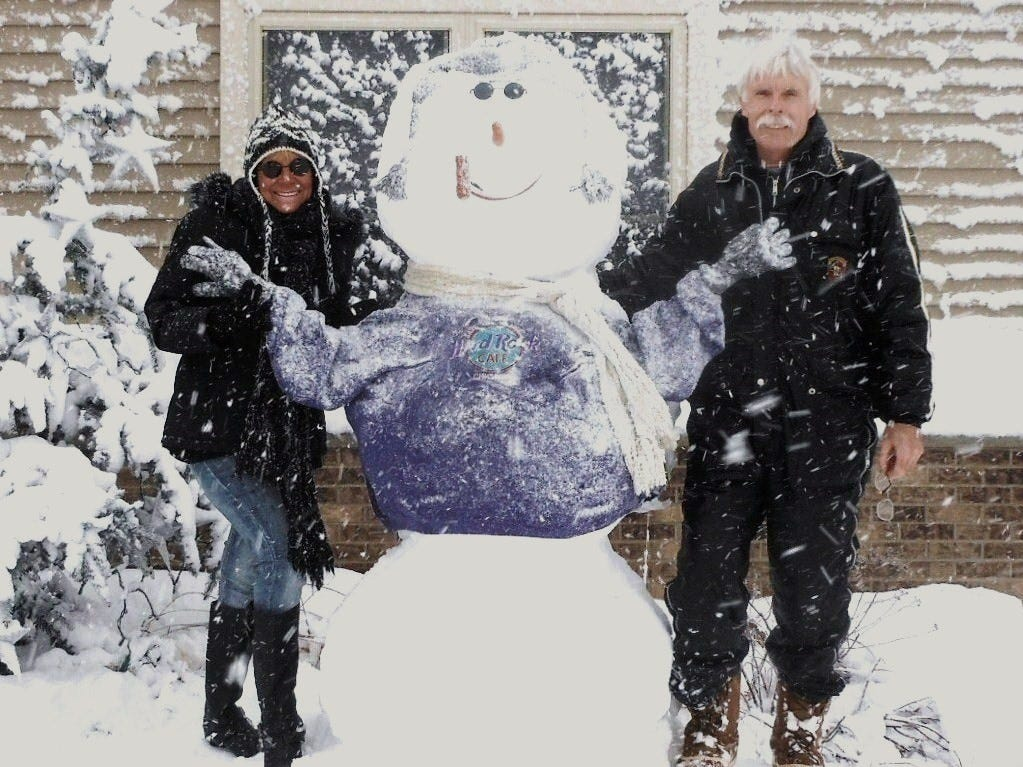 Linda and Dennis have been married for 45 years. Now retired, they spend their winters creating snowmen.