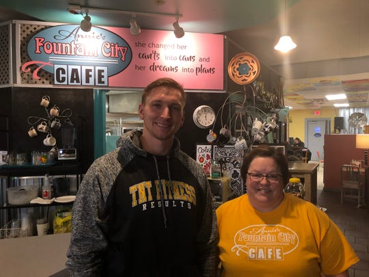 "TNT Fitness Results' owner Steven Knuth, left, and Annie's Fountain City Café owner Ann Culver are collaborating to raise money for the Wisconsin Athlete Training Fund through a ""Bells and Brews"" workout event."