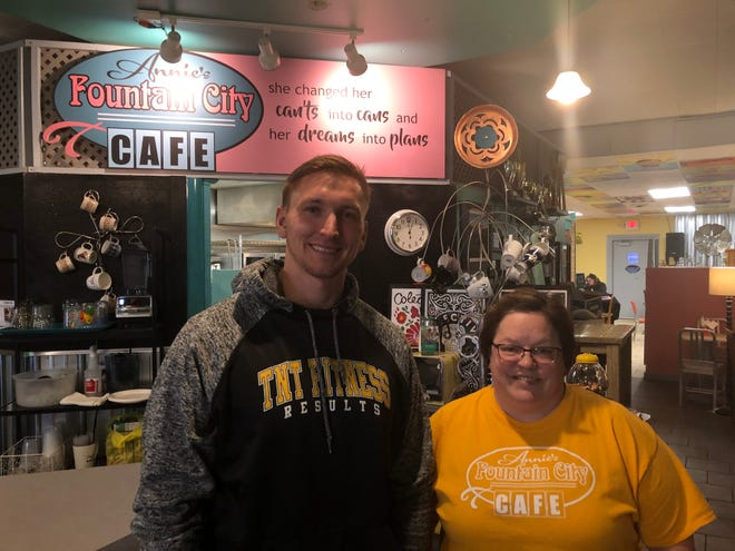 """TNT Fitness Results' owner Steven Knuth, left, and Annie's Fountain City Café owner Ann Culver are collaborating to raise money for the Wisconsin Athlete Training Fund through a """"Bells and Brews"""" workout event."""