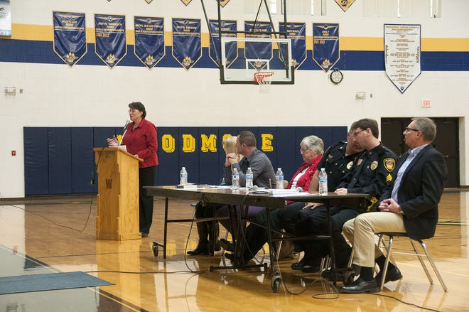 Two Villages' Jayne Klett spoke at the second meeting on opiate/heroin addiction and recovery at Woodmore High School in Elmore in 2016. Two Villages and the Sandusky County Health Department will be co-hosting town hall meetings Sunday from 1-3 p.m. at Woodmore Elementary/Middle School and from 4-6 p.m. at Fremont's Victory Church.