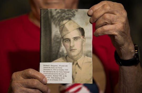 Richard Bergeron fought in World War II from 1942 to 1945 and retired in 1983 after serving as an active member in the Air Force reserves for 35 years with jobs as an airplane mechanic and a weaver in a textile plant.