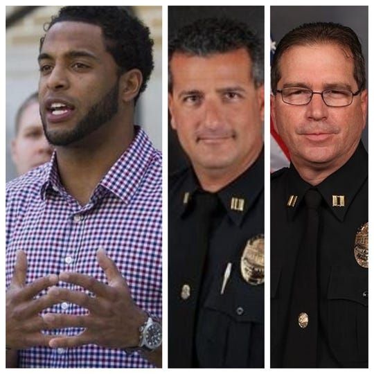 Controversial cases involving the Fort Myers Police Department since 2015 include, from left, Nate Allen, a then NFL player who was wrongly detained by officers, Capt. Jay Rodriguez, on administrative leave for allegedly paying for a sex act during a 2013 prostitution sting, and Capt. William Newhouse who  is under review for his work in a 2009 homicide investigation.