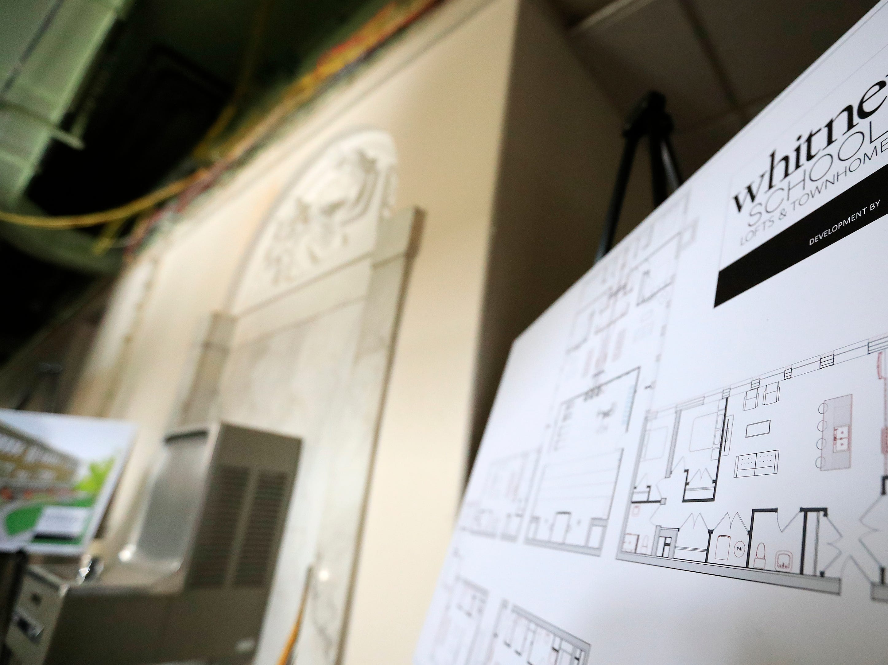 Floor plans for planned apartments in the former Whitney School building are shown on Tuesday, February 26, 2019 in Green Bay, Wis.
