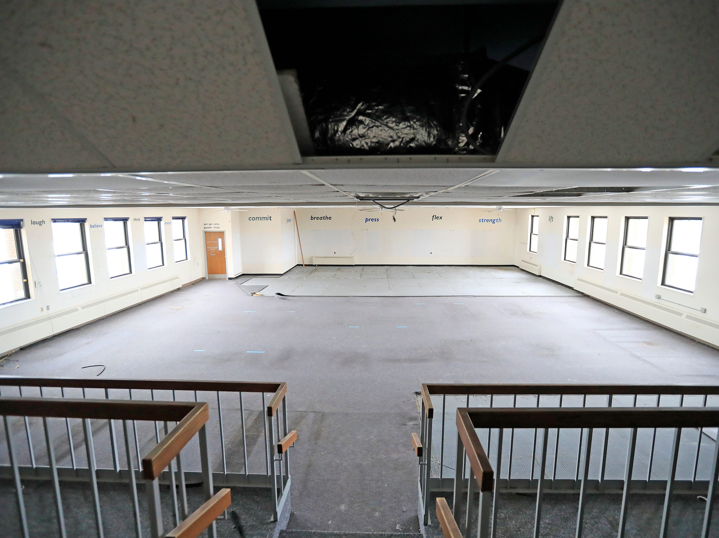 The gym area inside the former Whitney School building is shown on Tuesday, February 26, 2019 in Green Bay, Wis. The building is being converted into apartments this year.