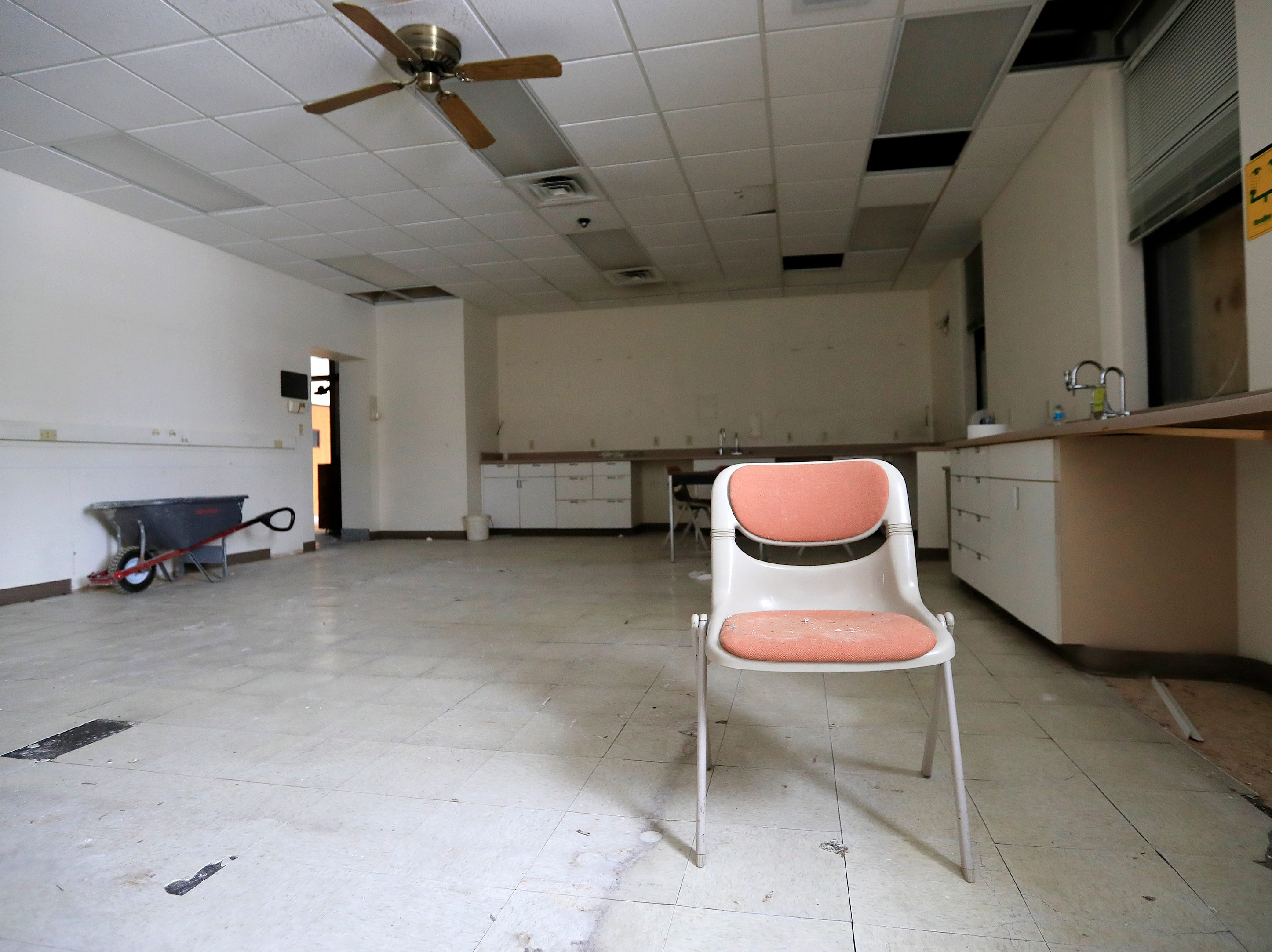A classroom inside the former Whitney School is shown on Tuesday, February 26, 2019 in Green Bay, Wis. The building is being converted into apartments this year.