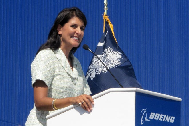 South Carolina Gov. Nikki Haley speaks during the dedication of Boeing Co.'s $750 million final assembly plant in North Charleston, S.C. on Friday, June 10, 2011.     Haley and state officials have joined hundreds of Boeing workers in North Charleston to cut the ribbon opening the company's 787 jetliner assembly plant at the center of a National Labor Relations Board dispute.