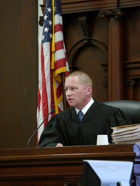 Cascade County District Judge Greg Pinski sits on the bench during sentencing hearings Feb. 14, 2019.