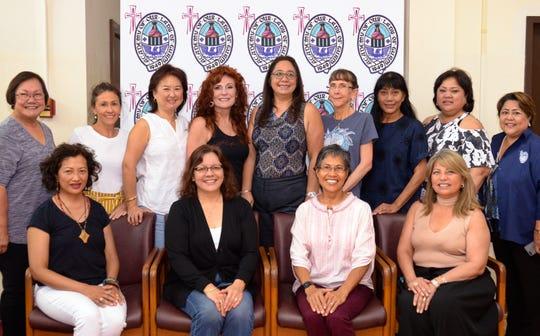 In celebration of their 40th reunion, the Academy of Our Lady of Guam Class of 1979 returned home to their alma mater for a visit and tour of their former stomping grounds. The Class planned various activities and gatherings from Feb. 19 to 23. The culmination of their celebration will be a scholarship presentation to the school in May for school year 2019-2020. Class members pictured from left: Mary C. Byrnes, Judy F. Mowery, Aggie M. White, Nora T. Bland; Back row: Mary A.T. Meeks (AOLG principal), Antoinette M. Nip, Sandra L. Lai, Melinda J. Newhouse, Melinda D. Castro, Frances F. Mercado, Lynn H. Okada, Elaine S.T. Tersigni, and Jonifer B. Cepeda.