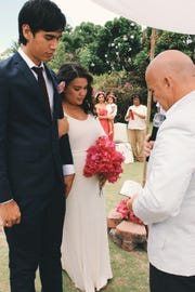 Around 80 guests attended the couple's ceremony and reception at the Pacific Star Resort & Spa.