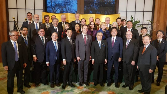 Gov. Lou Leon Guerrero, middle row-center, and CNMI Gov. Ralph Torres are among governors who met with a Japanese delegation in Washington, D.C.   to discuss relocation of U.S. Marines from Okinawa to Guam and potential delay in military construction projects because of an H-2B ban on foreign labor from the Philippines, among other things.