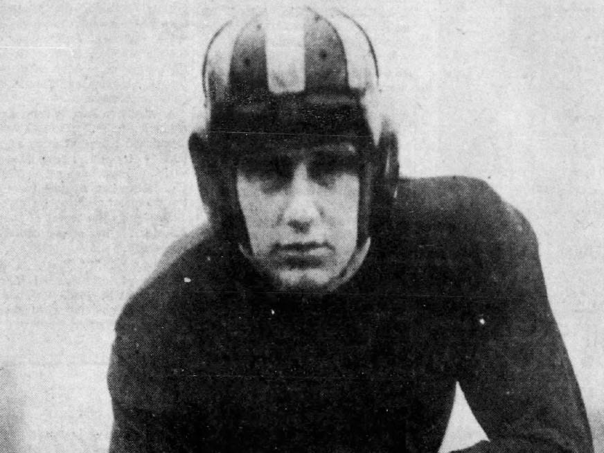 Dick Crayne of Fairfield shown in 1933 as a member of the Iowa Hawkeyes. Crayne was drafted fourth overall in the 1936 NFL Draft by the Brooklyn Dodgers.
