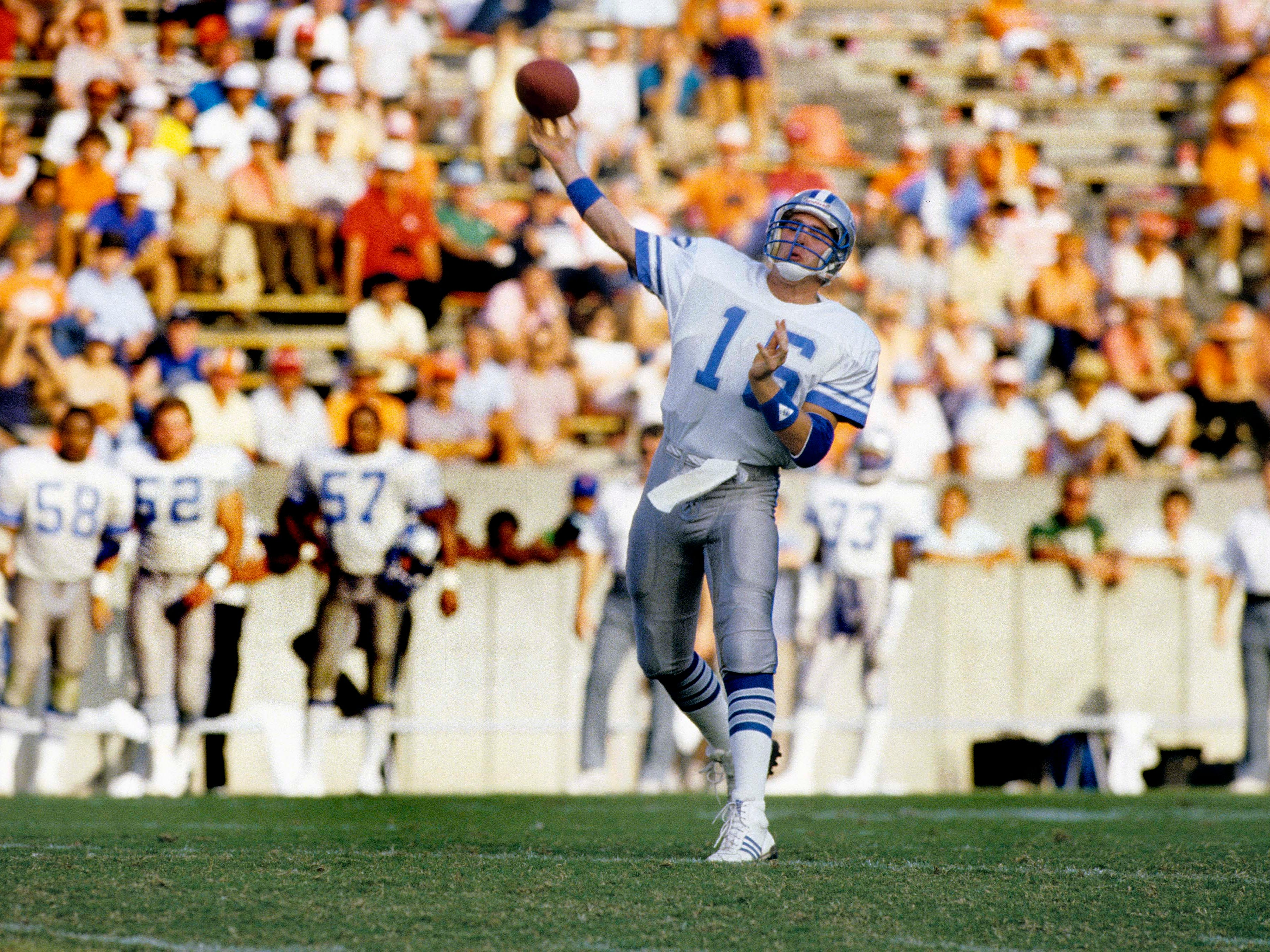 Detroit Lions quarterback Chuck Long (16) throws a pass against the Tampa Bay Buccaneers at Tampa Stadium during the 1986 season. Long, a former Iowa Hawkeye, was the 12th ovearll pick by the Detroit Lions in the 1986 NFL Draft.
