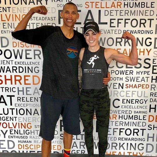 Reggie Miller with his biggest fan and Butler grad Dana Matis.